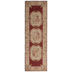 High Quality Floor Carpet Runner Beige Aubusson Runner Rug Flat-Weave Red Rug