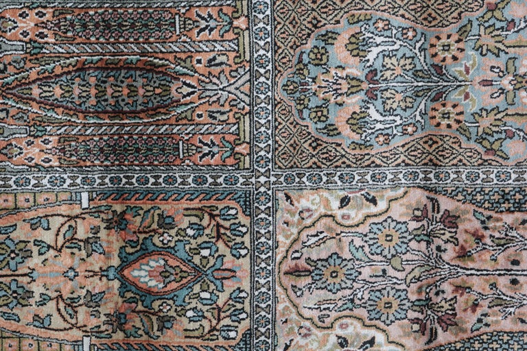 The manufacturing of these masterpieces silk Chinese rugs Herekeh style began, early 20th century. The luxury runner rugs from Herekeh are known for their artistry with the pile of silk and cotton in Turkey. Those carpets and rugs are also often