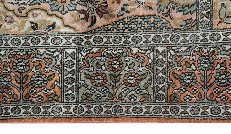 Tabriz High Quality Floor Silk Rug Carpet Runner Rust Pink Rugs, Chinese Herekeh Rug For Sale