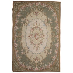 High Quality Floral Green Carpet Aubusson Rug Handmade Needlepoint Flatweave Rug
