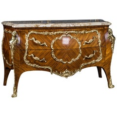 High Quality French Chest of Drawers in the Louis Quinze Style Marble Top