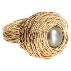 High Quality Grey Tahiti Pearl Yellow Gold Nest Cocktail Ring by Sheila Westera