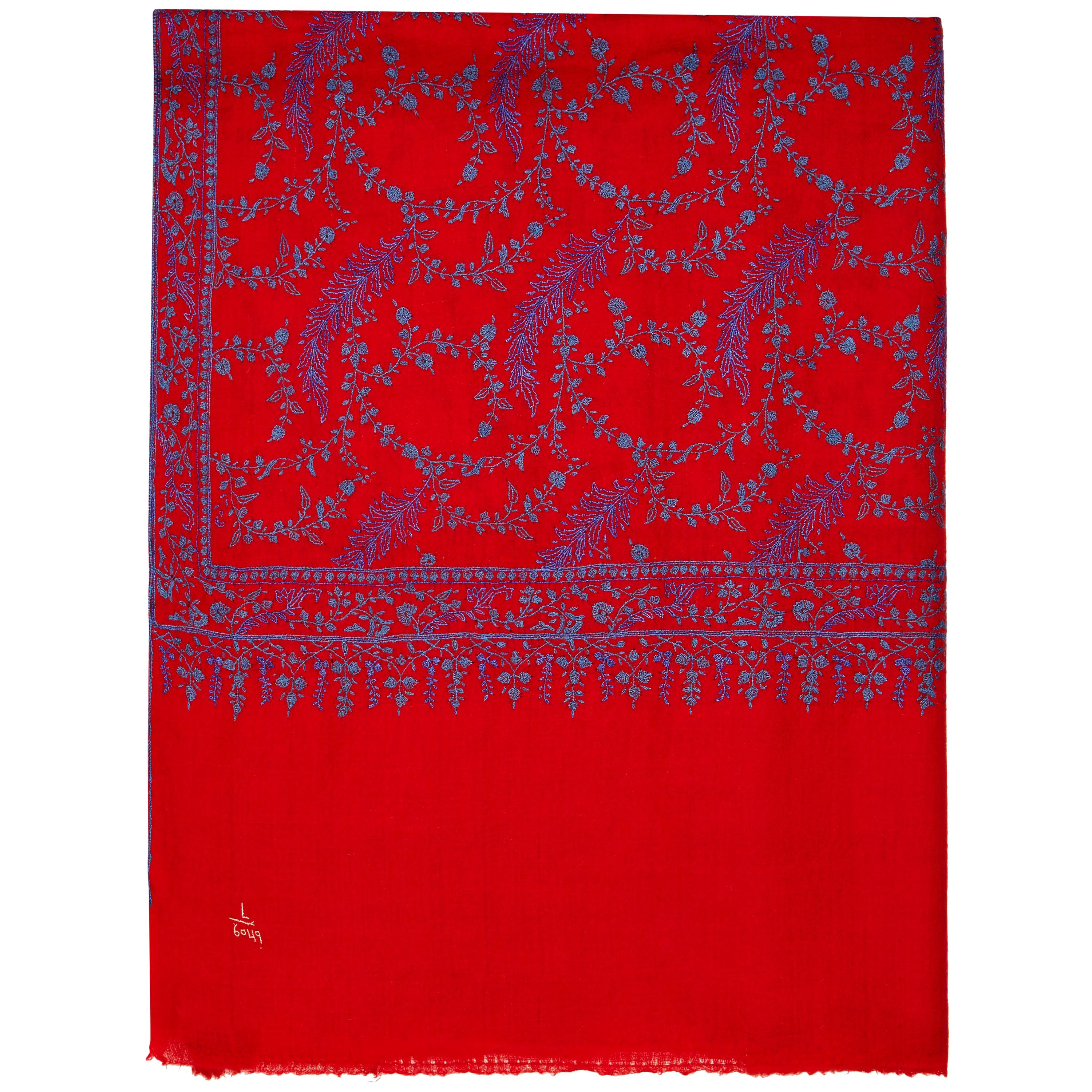 High Quality Hand Embroidered 100% Cashmere Shawl in Red & Blue