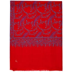 High Quality Hand Embroidered 100% Cashmere Shawl in Red & Blue - New
