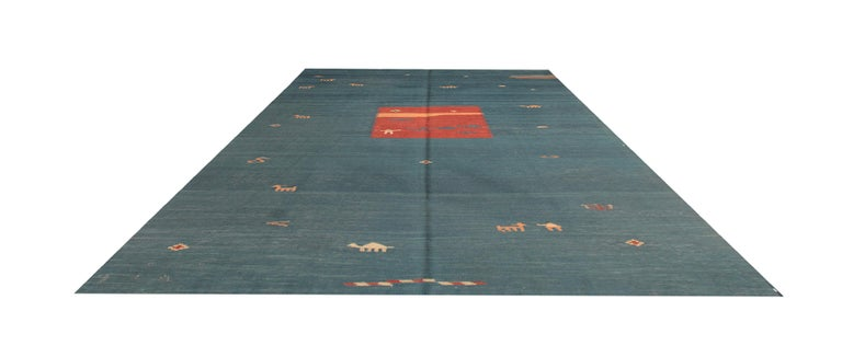 These Green rugs Minimalist Kilim is handwoven by our master weaver in Afghanistan. For the production of these luxury rugs are used the highest quality wool and cotton and only vegetable dye. This flat-weave rug has a some animal patterns such as