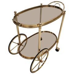 High Quality Italian Brass Trolley Bar Cart with Smoked Glass, 1980s