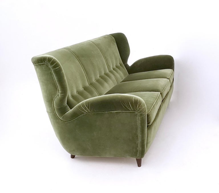 Quality Sofas For Sale: High-Quality Olive Green Velvet Sofa With Ebonized Wood