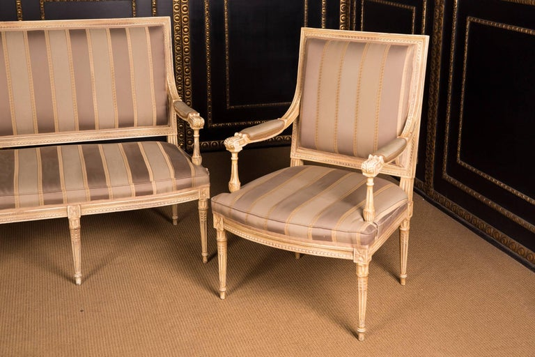 French High Quality Seating Furniture,Sofa  and Two Armchairs in the Louis Seize Style For Sale