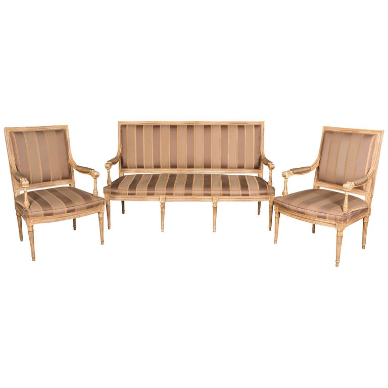 High Quality Seating Furniture,Sofa  and Two Armchairs in the Louis Seize Style For Sale