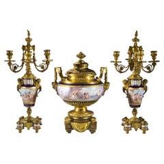 High Quality Sèvres-Style Ormolu Mounted Porcelain Three Piece Garniture