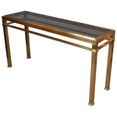 High Quality Solid Polished Brass Console Table by Maison Jansen