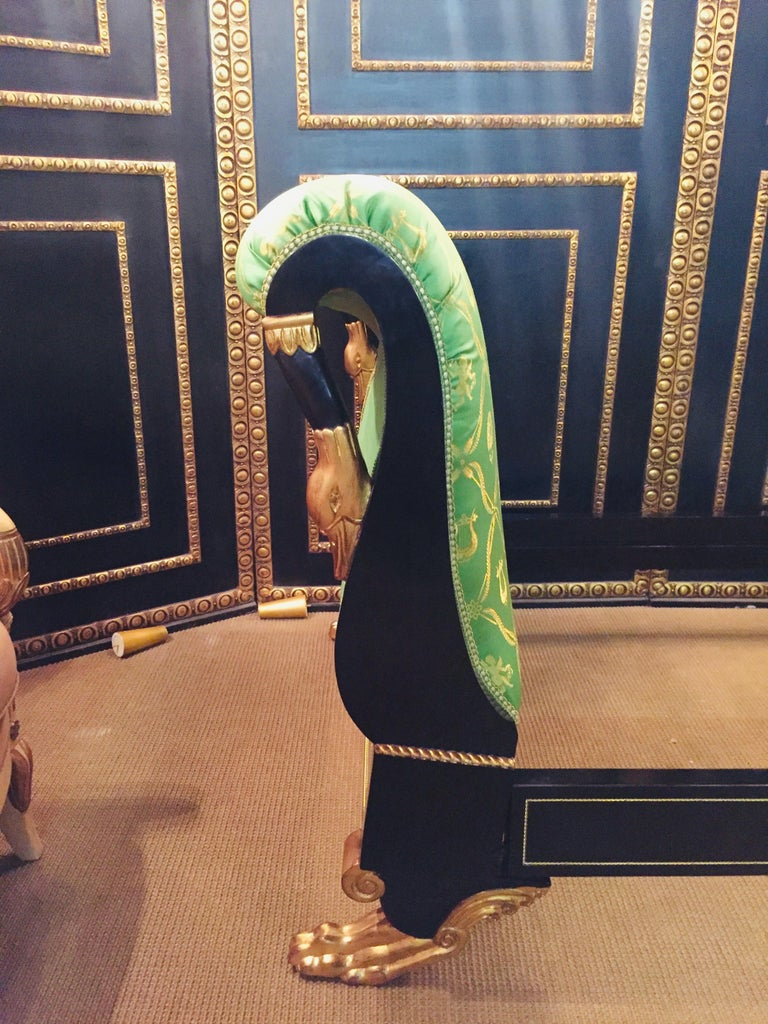 Hand-Carved High Quality Swan Bed in the Empire For Sale