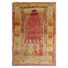 High-Quality Turkish Antique Living Room Rug, Red and Yellow Thick Wool Rug
