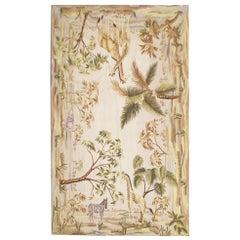 High-Quality Vintage Aubusson Style Rug Tapestry, Handwoven Safari Scene Carpet