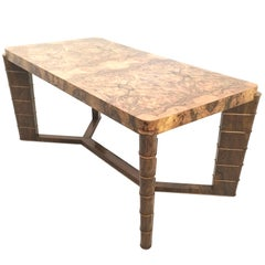 High-Quality Vintage Rectangular Walnut and Root Dining Table, Italy, 1940s