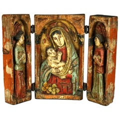 High Relief Carved and Polychromed Triptych Russian Orthodox Icon, 18th Century