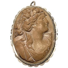 High Relief Carved Lava Cameo Pin/Pendant