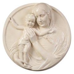 High Relief Ceramic Madonna with Child