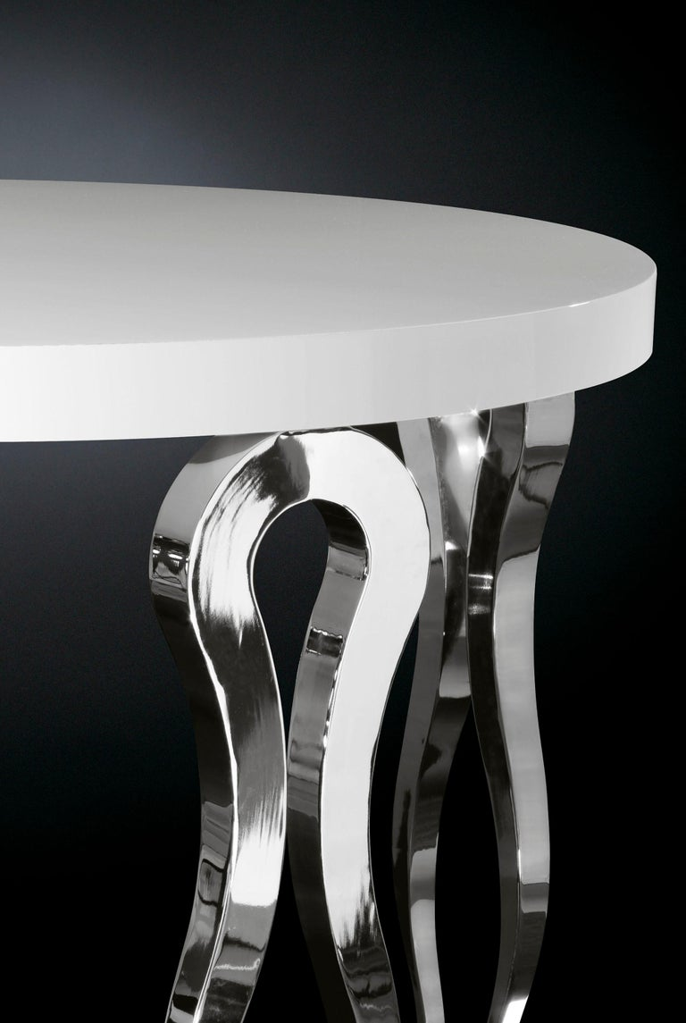 Modern High Round Table Silhouette, Wood and Steel, Italy For Sale