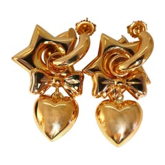 High Shine Domed Heart Star Bow Circles Dangle Earrings 14 Karat Gold