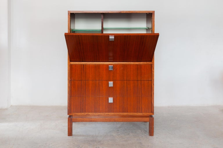 Exclusive 1960s high side-board with a mini bar by Alfred Hendrickx for Belform, Belgium can also be used as a Secretary.