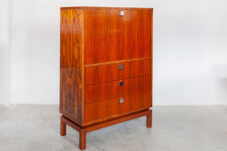 Hand-Crafted High Side-Board with Mini Bar by Alfred Hendrickx for Belform, Belgium, 1960's