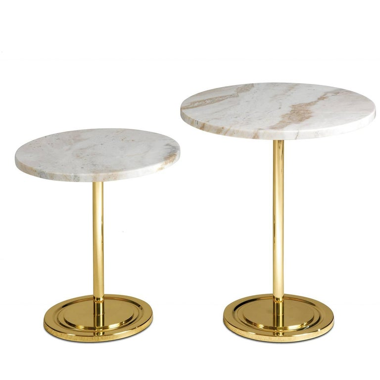 Italian High Side Table with Marble For Sale