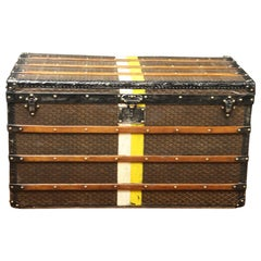 High Steamer Trunk from Goyard with Its Chevron Canvas
