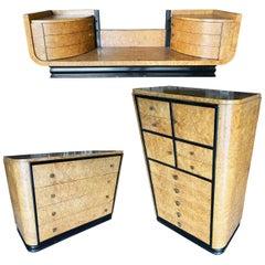 High Style Art Deco Bronze and Bird's-Eye Dresser and Vanity Set Bedroom Set