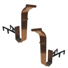 High Style Art Deco Modernist Copper and Iron Firedogs / Andirons, Pair