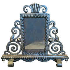 High Style Art Deco Picture Frame, Fer Forge, by Paul Kiss, Signed