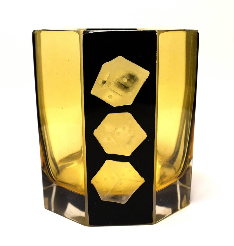 Etched High Style Art Deco Whisky Glass and Enamel Decanter Set by Karl Palda For Sale