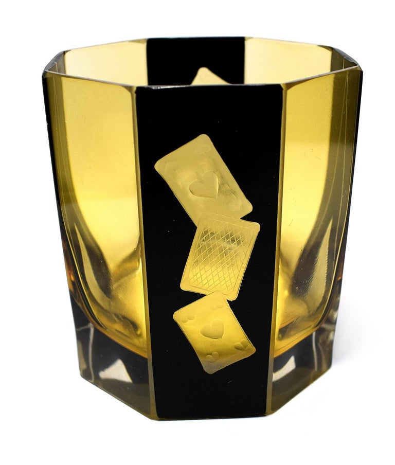 High Style Art Deco Whisky Glass and Enamel Decanter Set by Karl Palda In Good Condition For Sale In Devon, England