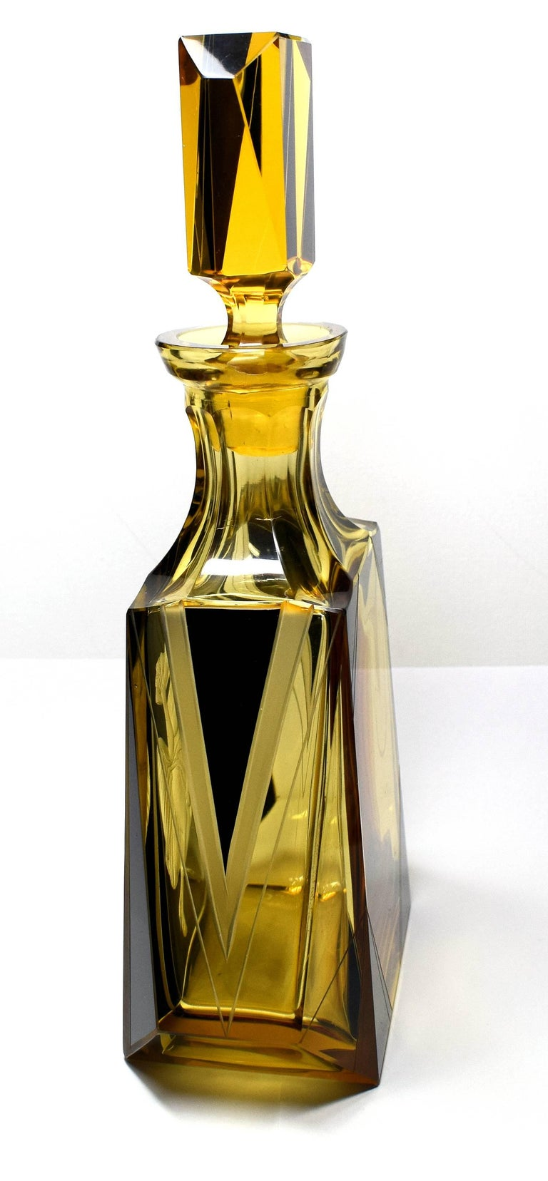 High Style Art Deco Whisky Glass and Enamel Decanter Set by Karl Palda For Sale 3