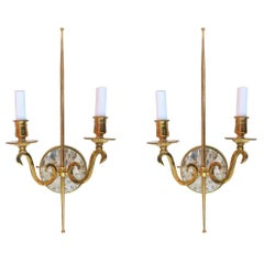 High Style Double Arm with Sconce with Solid Brass and Rock Crystal