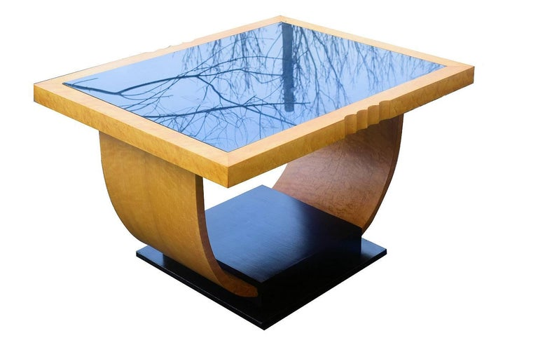 High Style English Art Deco Maple U Base Coffee Table In Excellent Condition For Sale In Devon, England