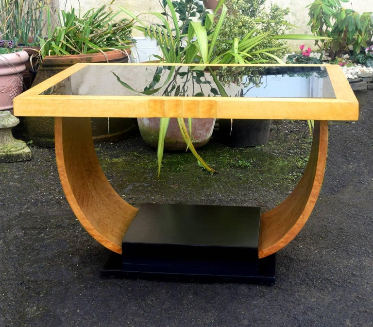20th Century High Style English Art Deco Maple U Base Coffee Table For Sale