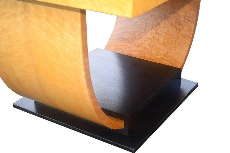 Birdseye Maple High Style English Art Deco Maple U Base Coffee Table For Sale