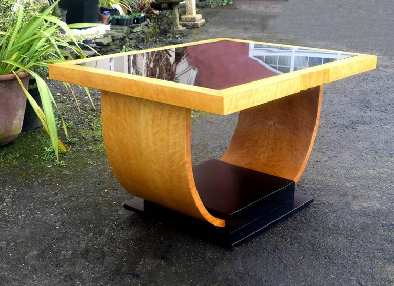 High Style English Art Deco Maple U Base Coffee Table For Sale 1