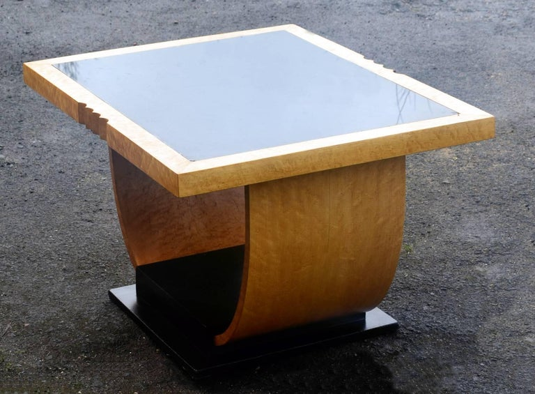 High Style English Art Deco Maple U Base Coffee Table For Sale 2