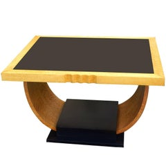 High Style English Art Deco Maple U Base Coffee Table