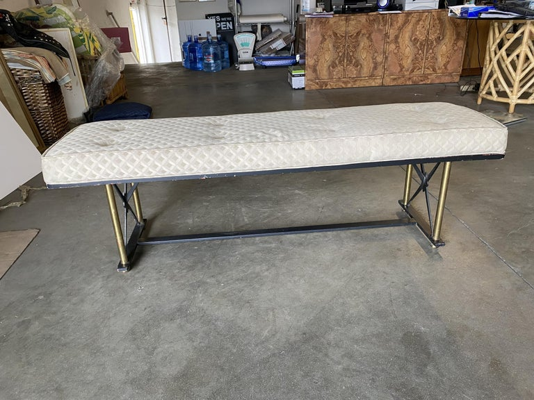 Mid-20th Century High Style Formal Mid Century Black and Brass Vanity Bench For Sale