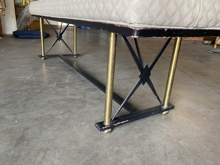 High Style Formal Mid Century Black and Brass Vanity Bench For Sale 2