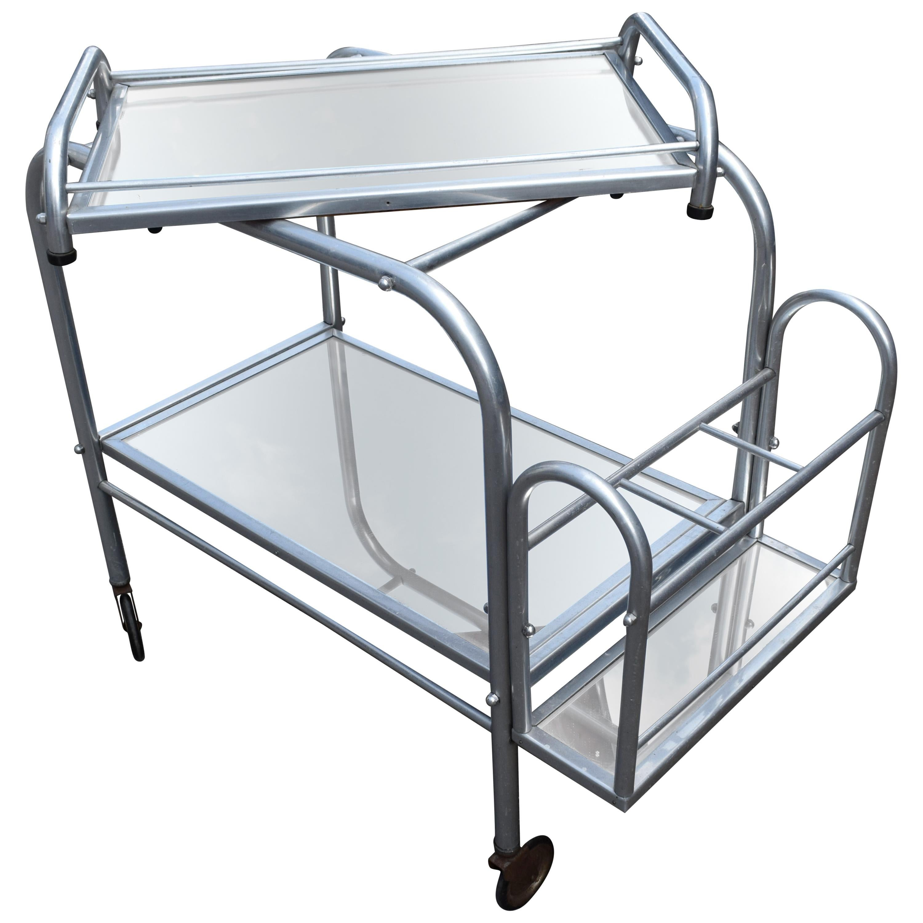 High Style French 1930s Art Deco Chrome Trolley Cart