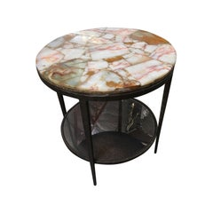 High Style Hand Forged Round Bronze Side Tale with Marble Top