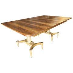 High Style Midcentury Oak Dining Table with Double Pedestal Base