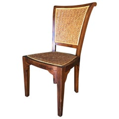 High Style Midcentury Mahogany Dining Chair with Woven Wicker Seat