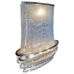 High Style Modern Beaded Crystal Basket Form Chandelier w/ Tear Shaped Crystals