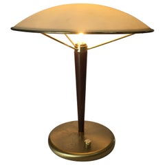 High Style Walnut and Brass Table Lamp with Glass Shade