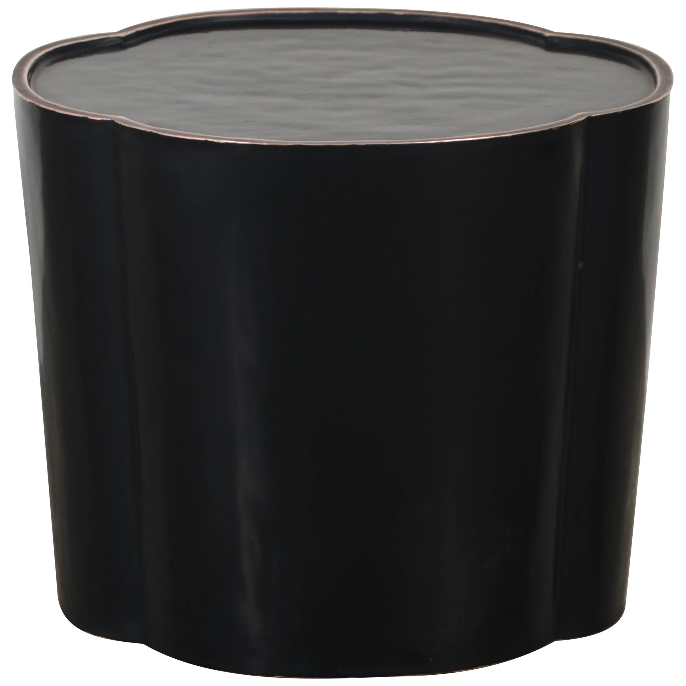 High Tang Drumstool - Black Lacquer by Robert Kuo, Hand Repousse, Limited